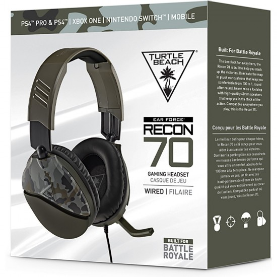 RECON 70 Gaming Headset, Green Camo, Turtle Beach, PlayStation 4, Xbox One, Nintendo Switch, Mobile Devices